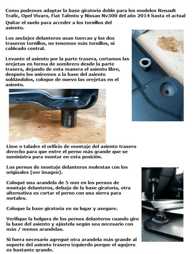 Modificación base giratoria para banquetas dobles