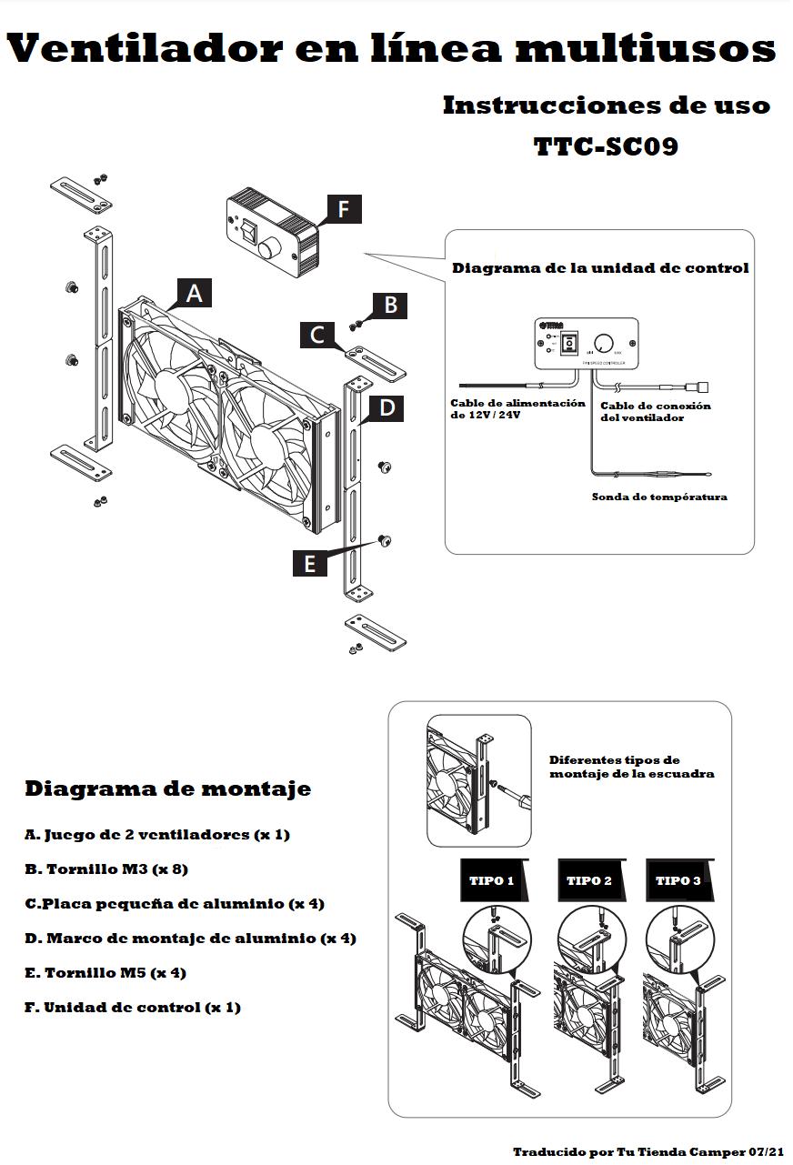 Ventiladores TITAN TTC-SC09TZ instrucciones
